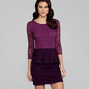 NWT Gianni Bini purple lace peplum dress
