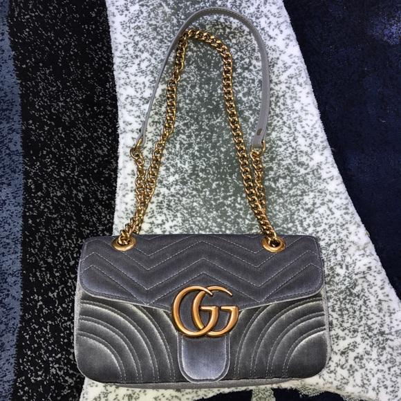572a1d1b7 Gucci Bags | Final Sale Gray Velvet Marmont Bag | Poshmark