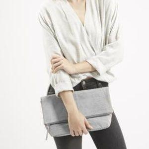 Topshop Gray Suede Convertible Crossbody Bag