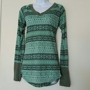 Free people green v-neck  top