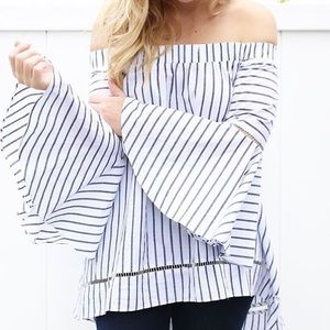 White & Blue Stripe Off The Shoulder Top