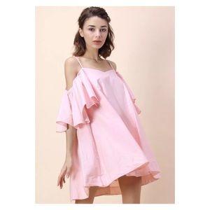 Chicwish Cold-Shoulder Pink Dress