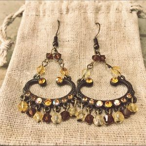 Jewelry - Brass & Bead Chandelier Earrings