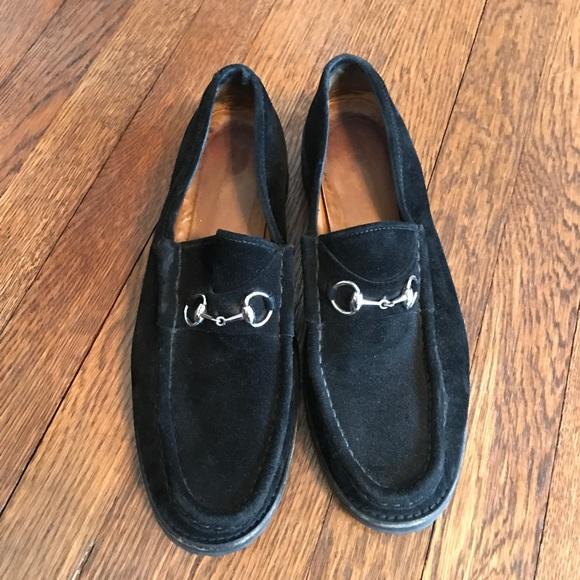 82d6dd3073e Gucci Shoes - Black suede Gucci lug sole horse bit loafers 9.5