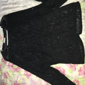 Avalon Tops - Sequin black knit sweater