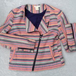 Nordstrom Jackets & Blazers - HP Bcnu ethnic striped Moto jacket