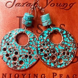 Jewelry - Copper and genuine turquoise earrings