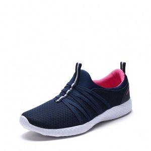Ladies slip on running sneakers. Navy- Fuchsia.NIB
