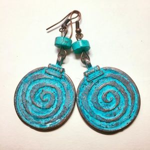 Jewelry - Genuine turquoise and copper spiral earrings