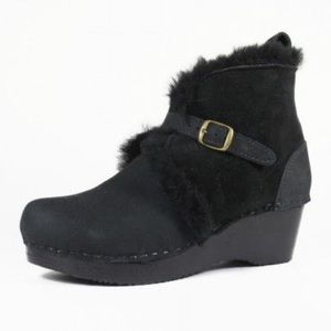 No. 6 Shearling & Leather Clog Wedge Boots