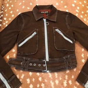 Guess Jackets & Blazers - Guess Jeans Crop Moto Jacket