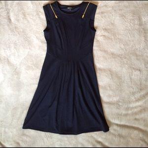 Spense Dresses & Skirts - Navy Blue Dress With Gold Zipper