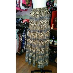 Amazing TOLANI Silk Leopard Skirt