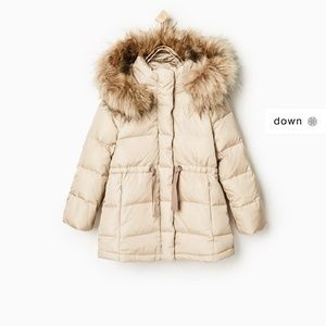 Zara faux fur hooded quilted down jacket