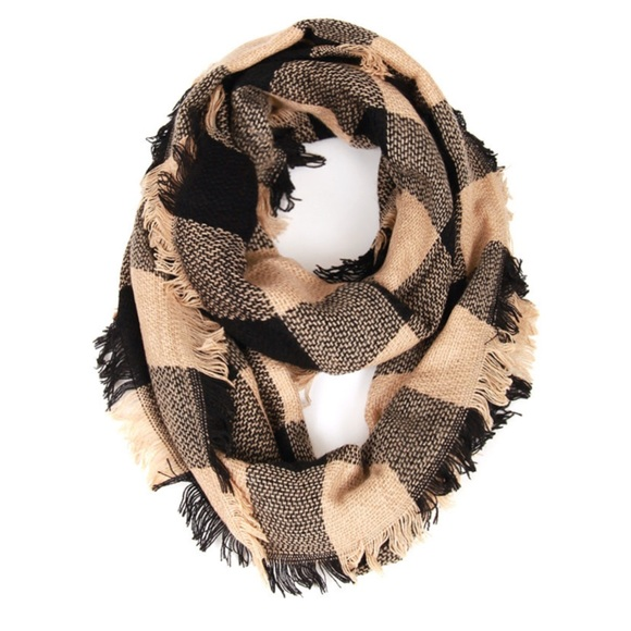 Accessories - Beige Buffalo Plaid Woven Infinity Scarf