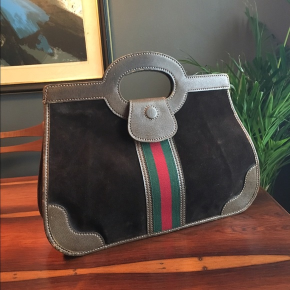 9ef3ed0aa6 Gucci Bags   Vintage Purse Brown Suede Red Green Stripe   Poshmark