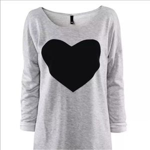 pearl street Tops - Graphic t-shirt gray and black heart
