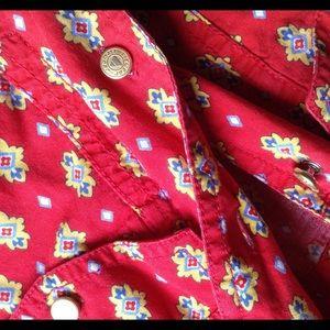 Vintage Tops - Vintage LIZ WEAR Short Sleeve Cowgirl Button Up