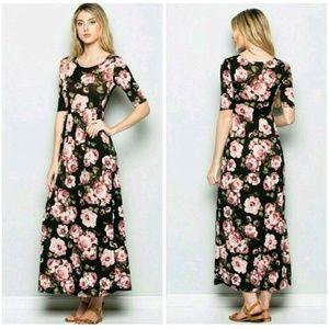 Fashionomics Dresses & Skirts - Black floral  maxi dress