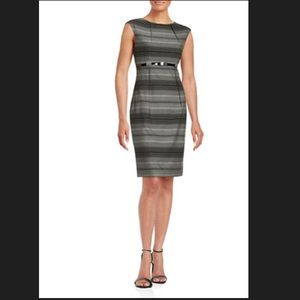 Calvin Klein Striped Belted Sheath Dress Size 4