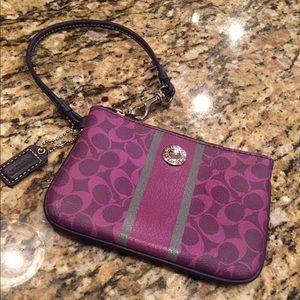 Coach Handbags - Coach wristlet purple and sliver