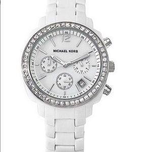 Michael Kors White Crystal Runway Watch