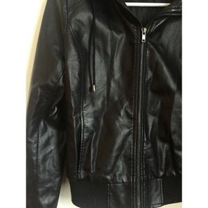 Forever 21 Black Faux Leather Hooded Jacket