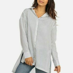 Tops - White and Blue Striped High Low Top