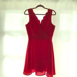 Scalloped v neck red dress