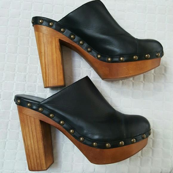 Leather Black High Heel Mulesclogs Sz