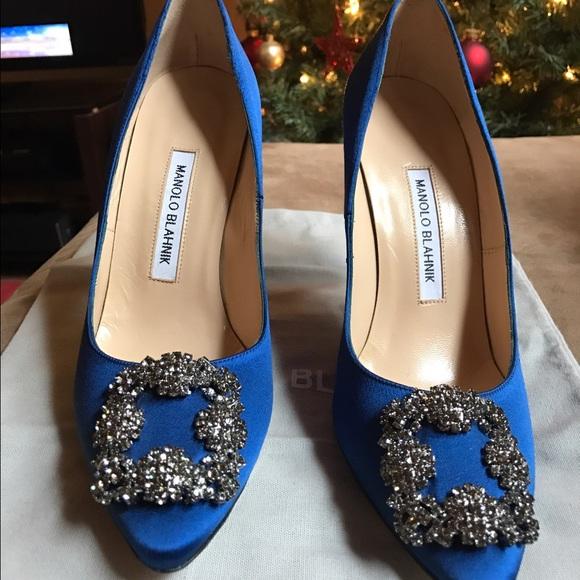 6dcbb93ed9d04 Manolo Blahnik Shoes | Hangisi 105 Blue Satin Size 38 | Poshmark