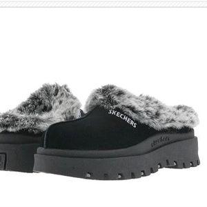 skechers slip on furry mule/ clog slippers