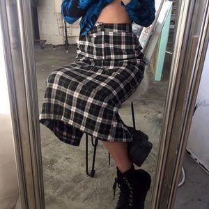 vintage plaid checkered pencil skirt