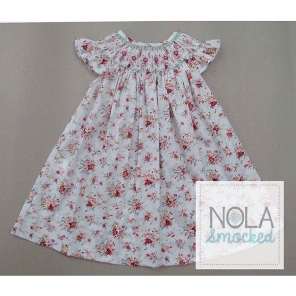 67a1dc0c39041 NOLA Smocked Dresses | White Floral Smocked Bishop Dress | Poshmark