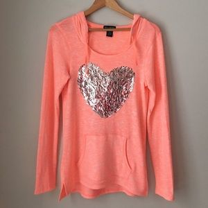 Miss Chievous Tops - Miss Chievous Sparkly Heart Knit Hoodie