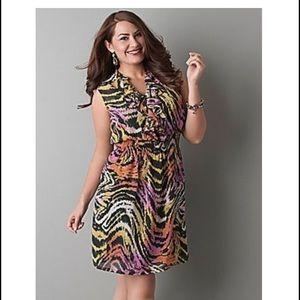 Lane Bryant Dresses & Skirts - Lane Bryant Colorful Sheer Zebra Print Dress