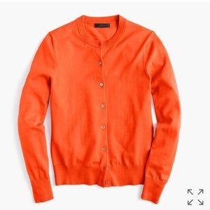 J. Crew Cotton Jackie cardigan sweater Orange
