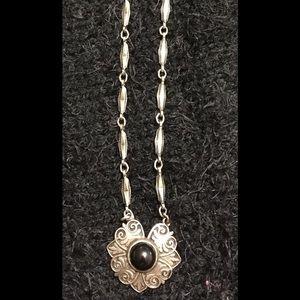 Vintage Black Onyx Silver Tone Necklace