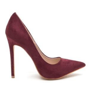Burgundy Pointy Toe Heels