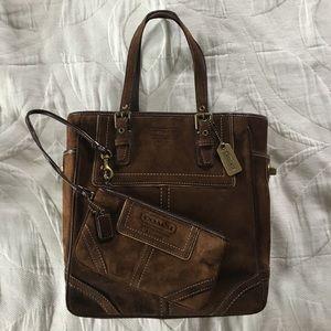 Coach Handbags - Vintage Coach Suede Small Tote & Wristlet