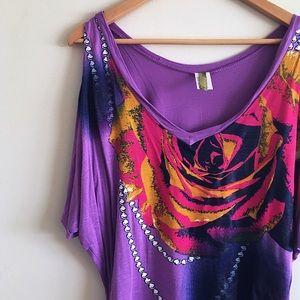 Minx Tops - Minx purple floral shoulder peep top