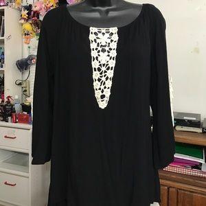 JEM Tops - Black Bell Sleeve Blouse Floral Crochet Loose Tee