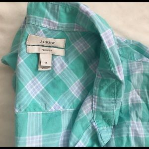 J. Crew Tops - j crew perfect button up plaid shirt size 2