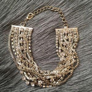 Silver Multichain Layered Rhinestone Bracelet