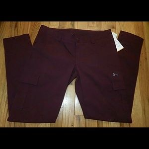 Under Armour Maroon Ripstop Fitted Pants 10 - NWT