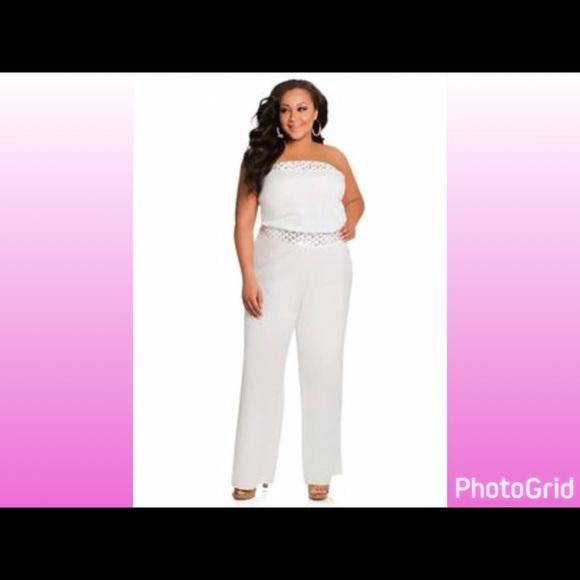 fee3f976877a Ashley Stewart Pants - Ashley Stewart White Linen Sequin Jumpsuit. Sz 18