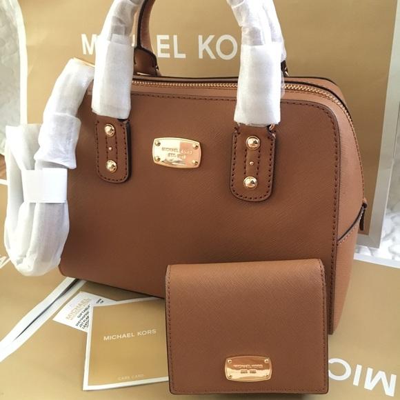 0d780363e282 Michael Kors Bags | Mk Saffiano Satchel Set Acorn Color | Poshmark