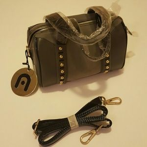 Nila Anthony Handbags - *NWT* Nila Anthony Black Gray Suede Stud Handbag