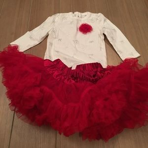 Cherokee Other - Cream & Red Tutu Outfit Sz 6-9m