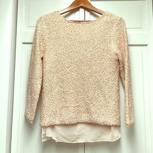 Zara Sequined Knit Sweater in Pink Sz Medium
